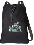 Michigan State Peace Frog Cotton Drawstring Bag Backpacks