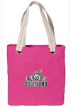 Michigan State Peace Frog Tote Bag RICH COTTON CANVAS Pink