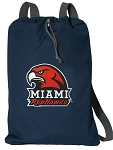 Miami Redhawks Cotton Drawstring Bag Backpacks Cool Navy