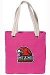 Miami University Redhawks Tote Bag RICH COTTON CANVAS Pink