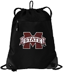 Mississippi Stat Drawstring Backpack-MESH & MICROFIBER