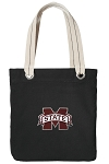 Mississippi Stat Tote Bag RICH COTTON CANVAS Black