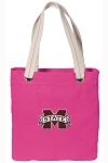 Mississippi State Tote Bag RICH COTTON CANVAS Pink