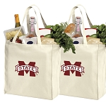 Mississippi State University Shopping Bags MSU Bulldogs Grocery Bags 2 PC SET