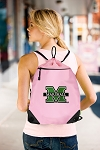 Marshall University Drawstring Bag Mesh and Microfiber Pink