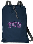 TCU Texas Christian Cotton Drawstring Bag Backpacks Cool Navy