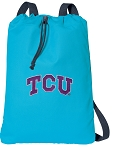 TCU Cotton Drawstring Bag Backpacks Blue