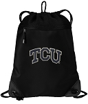 TCU Texas Christian Drawstring Backpack-MESH & MICROFIBER