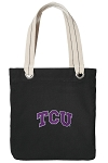 TCU Texas Christian Tote Bag RICH COTTON CANVAS Black