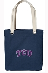 TCU Texas Christian Tote Bag RICH COTTON CANVAS Navy