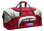 Cuban Flag Duffle Bag or Cuba Gym Bags Red