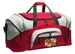 Maryland Duffle Bag or Maryland Flag Gym Bags Red