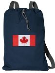 Canadian Flag Cotton Drawstring Bag Backpacks RICH NAVY