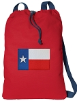 Texas Flag Cotton Drawstring Bag Backpacks COOL RED