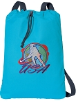 Field Hockey Cotton Drawstring Bag Backpacks COOL BLUE