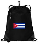 Cuban Flag Drawstring Backpack-MESH & MICROFIBER