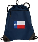 Texas Flag Drawstring Backpack-MESH & MICROFIBER Navy