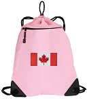 Canadian Flag Drawstring Bag Mesh and Microfiber Pink
