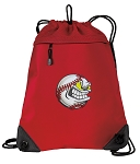 Baseball Drawstring Backpack MESH & MICROFIBER Red