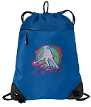 Field Hockey Drawstring Backpack MESH & MICROFIBER Blue