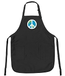 Deluxe Peace Sign Apron Black