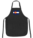 Deluxe Colorado Flag Apron Black