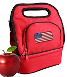 American Flag Lunch Bag 2 Section Red