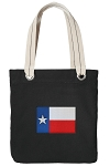Texas Flag Tote Bag RICH COTTON CANVAS Black