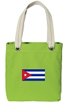 Cuban Flag Tote Bag RICH COTTON CANVAS Green