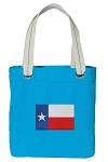 Texas Flag Tote Bag RICH COTTON CANVAS Turquoise