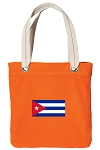 Cuban Flag Tote Bag RICH COTTON CANVAS Orange