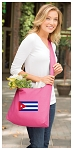Cuba Tote Bag Sling Style Cuban Flag Shoulder Bag Pink