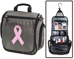 Pink Ribbon Toiletry Bag or Pink Ribbon Shaving Kit Organizer for Him Gray