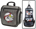Baseball Fan Toiletry Bag or Baseball Shaving Kit Organizer for Him Gray
