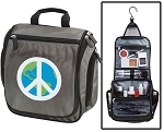 World Peace Toiletry Bag or Peace Sign Shaving Kit Organizer for Him Gray