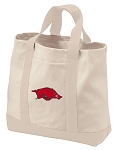 University of Arkansas Tote Bags NATURAL CANVAS