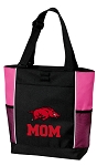 University of Arkansas Mom Tote Bag Pink
