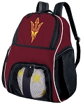 Arizona State Soccer Backpack or ASU Volleyball Bag Maroon