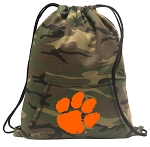 Clemson Drawstring Backpack Green Camo