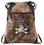 ECU Pirates RealTree Camo Cinch Pack