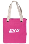 Eastern Kentucky Tote Bag RICH COTTON CANVAS Pink