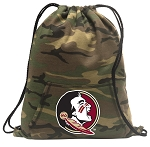FSU Drawstring Backpack Green Camo