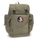 FSU LARGE Canvas Backpack Olive