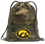 Iowa Hawkeyes Drawstring Backpack Green Camo