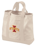 Iowa State Tote Bags NATURAL CANVAS