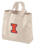 University of Illinois Tote Bags NATURAL CANVAS