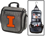 Illini Toiletry Bag or University of Illinois Shaving Kit Organizer for Him Gray