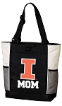 University of Illinois Mom Tote Bag White Accents