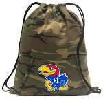 University of Kansas Drawstring Backpack Green Camo