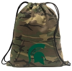 Michigan State Drawstring Backpack Green Camo